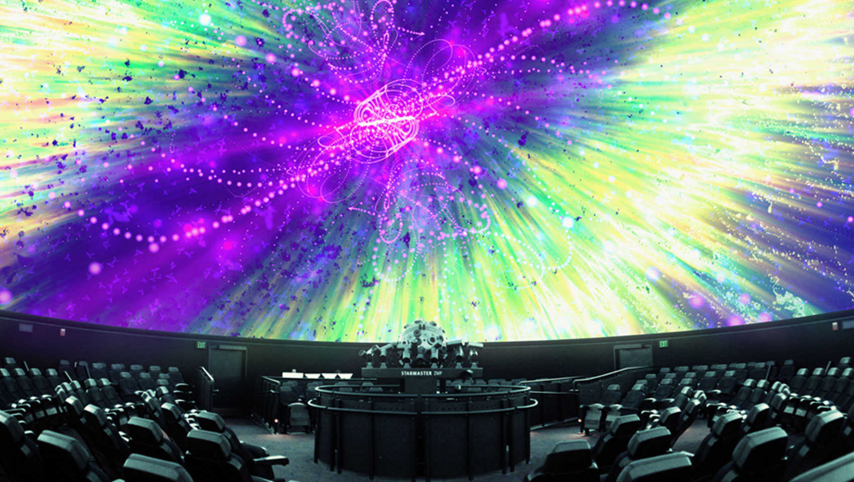 Museum of Science Light Show in planetarium dome projecting colorful lights