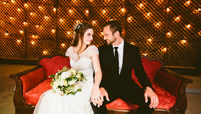 bride and groom at kimpton Marlowe hotel