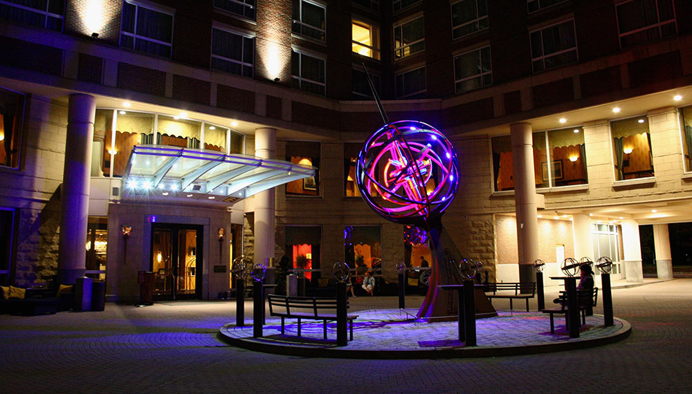 Kimpton marlowe hotel armillary at night