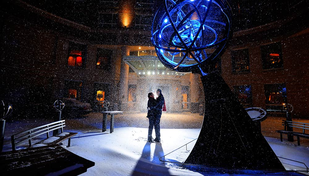 Kimpton Marlowe hotel armillary sculpture snow outside
