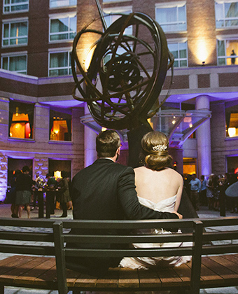 wedding in courtyard